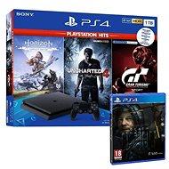 PlayStation 4 Slim 1 TB + 4 hry (GT Sport, Uncharted 4, Horizon Zero Dawn) + Death Stranding - Herná konzola