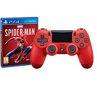 Sony PS4 Dualshock 4 V2 – Magma Red + Marvels SpiderMan - Gamepad