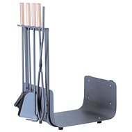 M.A.T. Krbový kôš s náradím 62 cm ocel/drevo - Krbový kôš