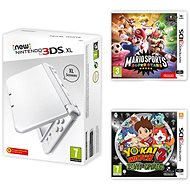 Nintendo NEW 3DS XL Pearl White + Mario Sports Superstars + YO-KAI WATCH 2: Bony Spirits