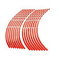 M-Style Reflexné delené prúžky na kolesá motocykla – Farba: Červená - Prúžky na ráfiky