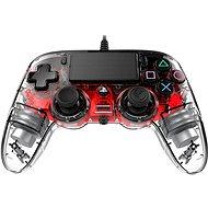 Nacon Wired Compact Controller PS4 – priehľadný červený - Gamepad