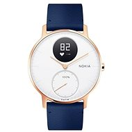 Nokia Steel HR (36mm) Rose Gold/Blue Leather/Grey Silicone wristband - Smart hodinky