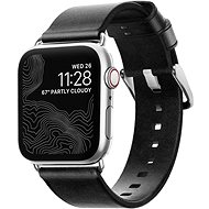 Nomad Leather Strap Black Silver Apple Watch 40/38 mm - Remienok
