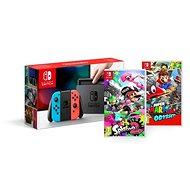 Nintendo Switch – Neon + Splatoon 2 + Super Mario Odyssey - Herná konzola