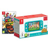 Nintendo Switch Lite - Turquoise + Animal Crossing + 3M NSO + Super Mario 3D World - Game Console