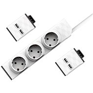 Allocacoc Set PowerStrip Modular Switch 1,5 m + 2× USB modul - Zásuvka
