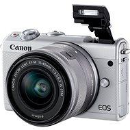 Canon EOS M100 biely + M15 – 45 mm strieborný + Irista - Digitálny fotoaparát