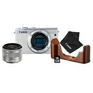 Canon EOS M100 biely + EF-M 15-45 mm IS STM strieborný Value Up Kit - Digitálny fotoaparát