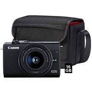 Canon EOS M200 BK M 15–45 mm S + fototaška SB 130 + 16 GB pamäťová karta - Digitálny fotoaparát