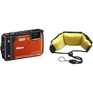 Nikon COOLPIX W300 oranžový + 2 v 1 plávajúci popruh - Digitálny fotoaparát