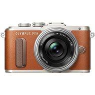 Olympus PEN E-PL8 hnedý + Pancake objektív ED 14-42EZ strieborný - Digitálny fotoaparát