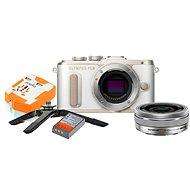 Olympus PEN E-PL8 biely + Pancake objektív ED 14 – 42EZ strieborný + Travel kit - Digitálny fotoaparát