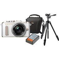 Olympus PEN E-PL8 biely + Pancake objektív ED 14-42EZ strieborný + Olympus Starter Kit - Digitálny fotoaparát