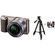 Sony Alpha A5100 hnedý + objektív 16–50 mm + Rollei Foto Starter Kit 2 - Digitálny fotoaparát