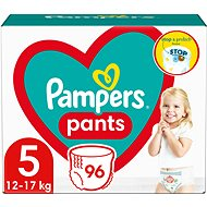 PAMPERS Pants vel. 5 Junior (12-17 kg) 96 ks - megapack - Detské plienkové nohavičky