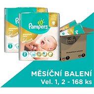 PAMPERS Premium Care vel. 1 Newborn (2-5 kg) + vel. 2 Mini (3-6 kg) 168 ks - měsíční zásoba - Detské plienky