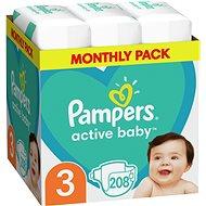 PAMPERS Active Baby veľ. 3 Midi (6-10 kg) 208 ks – mesačné balenie - Detské plienky