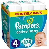 PAMPERS Active Baby-Dry veľ. 4 Maxi (8–14 kg) 174 ks – mesačné balenie - Detské plienky