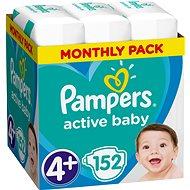 PAMPERS Active Baby-Dry veľ. 4+ Maxi (9–16 kg) 152 ks – mesačné balenie - Detské plienky