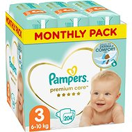 PAMPERS Premium Care vel. 3 Midi (204 ks) - měsíční balení - Detské plienky