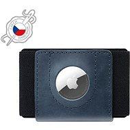 FIXED Tiny Wallet for AirTag z pravé hovězí kůže modrá