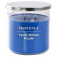 Provence sviečka v skle s viečkom 1 000 g, teakwood plum, 3 knôty - Sviečka