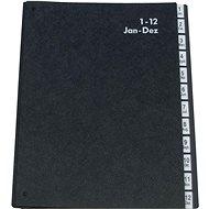 Q-CONNECT A4, černá, 1-12 - Triediaca kniha