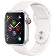 Repasované Apple Watch Series 4 44 mm Strieborný hliník s bielym športovým remienkom - Smart hodinky