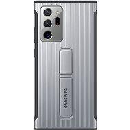 Puzdro na mobil Samsung Tvrdený ochranný zadný kryt so stojančekom pre Galaxy Note20 Ultra 5G strieborný - Pouzdro na mobil