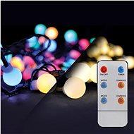 LED 2 v 1 vonkajšia vianočná reťaz, gule, diaľkový ovládač, 100 LED, RGB + biela, 10 m + 5 m, 8 funkcií, IP44 - Vianočná reťaz