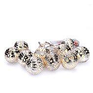 LED řetěz vánoční koule stříbrné, 10LED řetěz, 1m, 2x AA, IP20