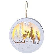 LED dekorácia závesná, les a jeleň, biela a hnedá, 2× AAA - Vianočné osvetlenie