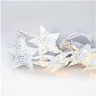 LED reťaz vianočné hviezdy, kovové, biele, 10LED, 1 m, 2× AA, IP20 - Vianočné osvetlenie