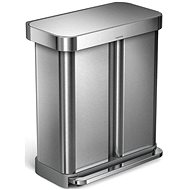 Simplehuman 58l Rectangular Pedal Dual Compartment Stainless Steel, FPP - Waste Bin