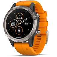 Garmin Fenix 5 Plus Sapphire Titanium Optic Solar Flare Orange Band - Smart hodinky