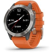 Garmin Fenix 6 Sapphire, Titanium/Orange Band (MAP/Music) - Smart hodinky