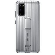 Samsung Tvrdený ochranný zadný kryt so stojanom pre Galaxy S20 strieborný - Kryt na mobil
