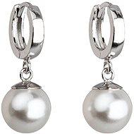 Biela náušnica perla dekorovaná krištáľmi Swarovski 31151.1 (925/1000, 4 g) - Náušnice