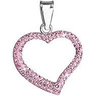 Rose prívesok srdce zdobený krištáľmi Swarovski 34093.3 (925/1000, 0.8 g)