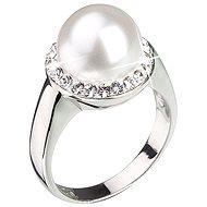 Prsteň zdobený kryštálmi Swarovski Biela perla 35021.1 (925/1000; 5,7 g) veľ. 58 - Prsteň