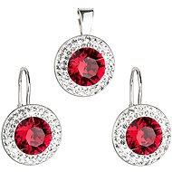 Ruby rivole súprava zdobená kryštálmi Swarovski (925/1000, 4,3 g) - Darčeková sada šperkov