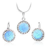 JSB Bijoux Strieborná súprava Opály s odtieňom Blue ozdobené krištáľovými kameňmi Swarovski® - Darčeková sada šperkov