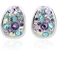 JSB Bijoux Strieborné náušnice Kreole Purple zdobené krištáľovými kameňmi Swarovski®