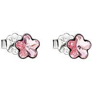 EVOLUTION GROUP 31080.3 kôstky kvietky dekorované kryštálmi Swarovski 925/1000, 0,8 g, svetlo ružová - Náušnice