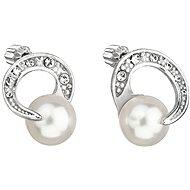 EVOLUTION GROUP 31239.1 kôstky guľaté dekorované kryštálmi a perlou Swarovski (925/1000, 2 g, biele) - Náušnice