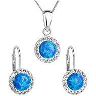 EVOLUTION GROUP 39160.1 modrý synt. opál souprava dekorovaná krystaly Swarovski® (925/1000, 2 g) - Darčeková sada šperkov
