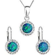 EVOLUTION GROUP 39160.1 zelený synt. opál súprava dekorovaná kryštálmi Swarovski® (925/1000, 2 g) - Darčeková sada šperkov
