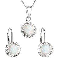 EVOLUTION GROUP 39160.1 biely synt. opál súprava dekorovaná kryštálmi Swarovski® (Ag925/1000, 2 g) - Darčeková sada šperkov