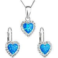 EVOLUTION GROUP 39161.1 modrý synt. opál súprava dekorovaná kryštálmi Swarovski® (925/1000, 2 g) - Darčeková sada šperkov